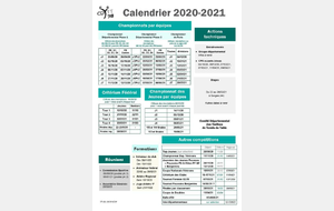 CALENDRIER COMPETITIONS  2020-2021